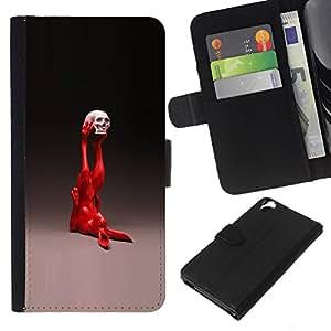 YiPhone /// Tirón de la caja Cartera de cuero con ranuras para tarjetas - Pop Art Conejo - HTC Desire 820