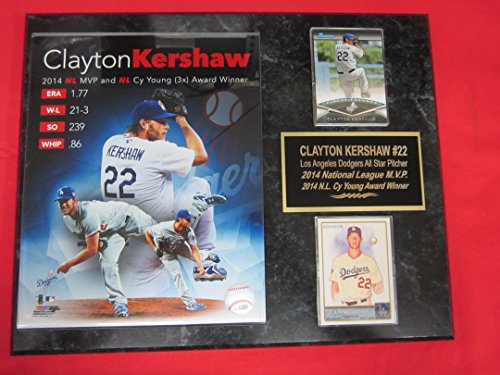 Dodgers Clayton Kershaw 2014 CY YOUNG & MVP WINNER 2 Card Collector Plaque w/8x10 Photo (Clayton Kershaw Plaque)
