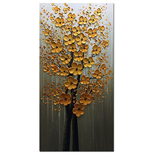 Fasdi-ART Oil Painting Landscape 3D Hand-Painted On Canvas Abstract Artwork Art Wood Inside Framed Hanging Wall Decoration Abstract Painting (DF018, 24x48inch)