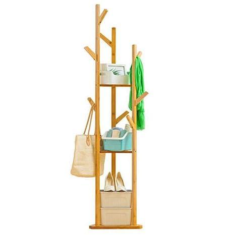 ZJ-Perchero Perchero Simple Percha de Dormitorio de Madera Maciza Suelo Moderno Perchero Acabado Estante de Almacenamiento Sala de Estar (Color : A)