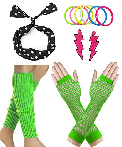 Janestone 80s Outfit Costume Accessories Fishnet Gloves Leg