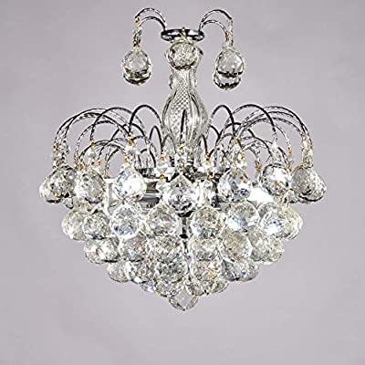 Broadway Silver Classic Crystal Chandeliers Modern Lamps Pendant Light Fixture BL-AJH/D-L3 W15 X H16 Inch
