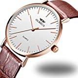 OLMECA Women's Watches Luxury Wristwatches Ultra-thin 36mm Simple Dial - Japanese Quartz Movement - Replaceable Multi-Color Striped Nylon/Leather Band - Rose Gold