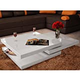 Black Lacquer Coffee Table Festnight 3 Layer Coffee Table Extendable High Gloss Sofa Side Table with Slide and Foldable Tier Living Room Home Office Furniture (White)