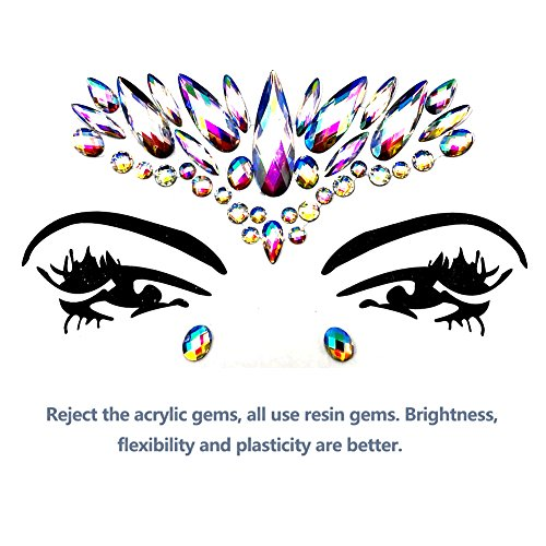 Face Gems Glitter - 8 Sets Mermaid Face Jewels Rhinestone Tattoo Face Glitter Bindi Crystals Rainbow Tears Face Gems Stickers Fit for Festival Party by LanGui (Image #4)