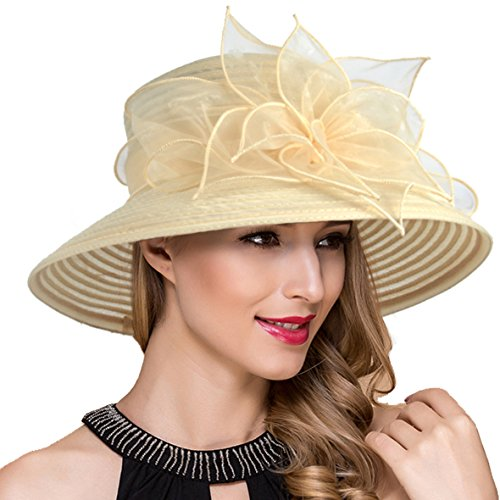 Women Kentucky Derby Church Dress Cloche Hat Fascinator Floral Tea Party Wedding Bucket Hat S052 (S-Apricot) ()