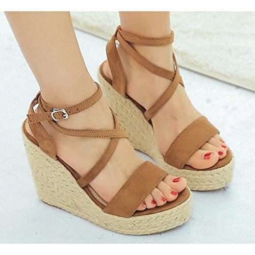 Brun Femmes ZHZNVX Sandales pour PU Talon Brown Casual Confort CN39 US8 Chaussures EU39 Printemps Été Black UK6 q1qw7C5
