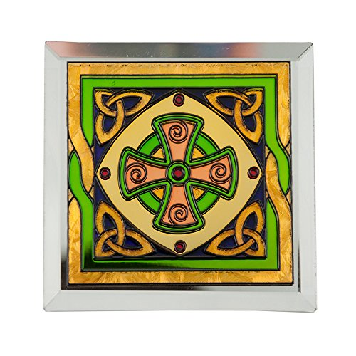 Stained Glass Loose Coaster With Celtic High Cross Design