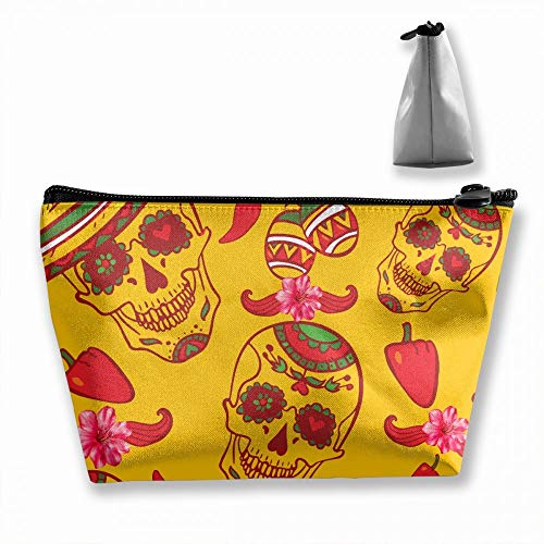 Cinco De Mayo Mexican Sugar Skull Day Of The Dead Cosmetic Bags Portable Travel Toiletry Pouch Makeup Organizer Clutch Bag With Zipper (Trapezoidal)