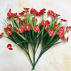 Realistic,Easy to Maintain,Party Decor 1 Bouquet Artificial Anthurium Flower Fake Plant DIY Wedding Party Home Decor 26