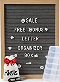 Premium Felt Letter Board - 12x16 Wood Frame with 750 Changeable Letters, Numbers and Emojis– Message Board Sign – Home, Office and Wall Décor + FREE Letters ORGANIZER BOX and Scissors by KidIs (Gray)