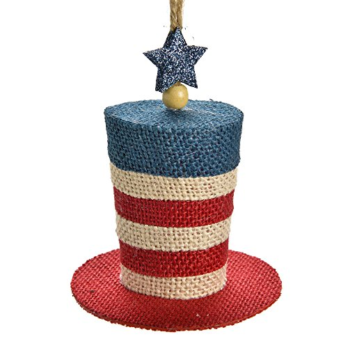 Patriotic Top Hat Burlap Hanging Christmas Ornament