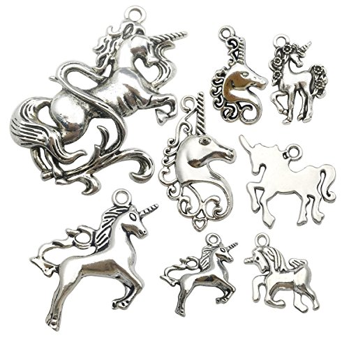 Bracelet Charm Pendant - iloveDIYbeads 24pcs Craft Supplies Antique Silver Animals Unicorn Charms Pendants for Crafting, Jewelry Findings Making Accessory For DIY Necklace Bracelet (Silver Unicorn Charms)