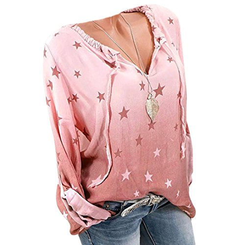 Shell Print Drape Neck (Long Sleeve Women's Loose Casual Ombre Star Print T-Shirt Top Blouse)