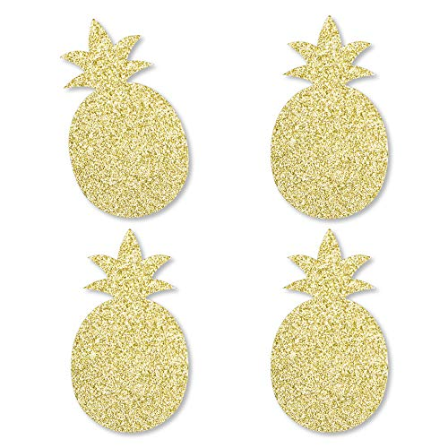 Gold Glitter Pineapple - No-Mess Real Gold Glitter Cut-Outs - Frutti Summer Baby Shower or Birthday Party Confetti - Set of 24 - Cut Out Flamingo