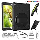 All-New iPad 9.7 inch Case - 360 Degree Rotatable Handle Stand Hardstrap Layer Shockproof Dropproof Hybrid Heavy Duty Skin W Kickstand shoulder harness for iPad 9.7