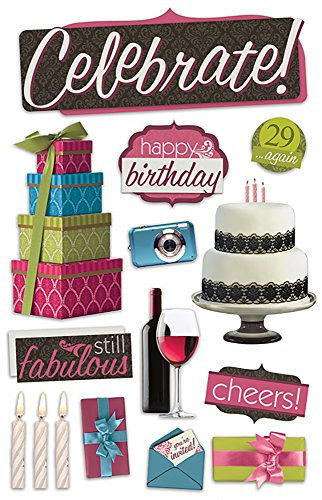 Birthday Scrapbooking Stickers - Paper House Productions STDM-0187E 3D Cardstock Stickers, Celebrate (3-Pack)