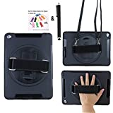 Anti-Shock and Bump Kickstand Case with Hand Grip Belt for Apple iPad Air 2 - 360 Degrees Rotatable Kistand with a Hand Grip Belt and a Neck Strap (Case with Neck Strap-Black)