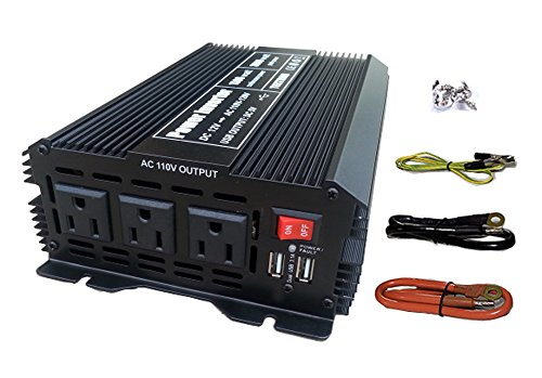 Tektrum Automotive 1500W Power Inverter 12V DC to 110V AC, 3 AC Outlets, 2 USB Ports, Intelligent Cooling Fan, Battery Cables Best for Computer, Fan, TV, mini-Fridge, Window A/C, Laptop, Smart Phone ()