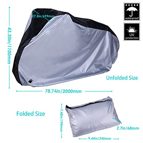 HDE Bike Cover Waterproof UV Protection Outdoor Indoor Bicycle Protector with Lock Hole For Bikes with Wheel Size Up To 29 inches (XL Silver and Black) by HDE (Image #5)
