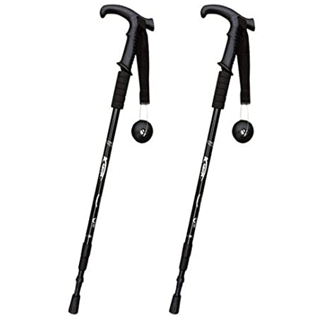 Telescopic Black Hiking Trekking Sticks Poles Straight Handle 3 Sections with Shock-Resistant Locking System  sc 1 st  Amazon.com & Amazon.com : Telescopic Black Hiking Trekking Sticks Poles ...