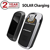 Avantree SOLAR Charging Bluetooth Car Kit for Handsfree Call, GPS and Music, Wireless Visor In-Car Hands-Free Speakerphone Kits for iphone, Samsung, Connect Two Phones [2 Year Warranty]