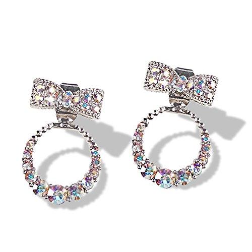 Bow 925 Sterling Silver Pin - 925 sterling silver pin bow earrings wild personality women girls temperament Korean net red sweet earrings earrings ear jewelry