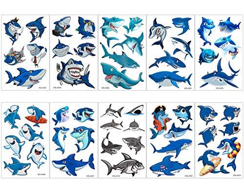 Biubee 30 Sheets Shark Temporary Tattoos, 162 Pcs