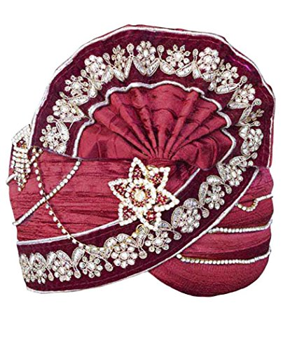 INMONARCH Mens Perfect Look Wedding Turban Pagari Safa Groom Hats TU1072 23-Inch Maroon by INMONARCH