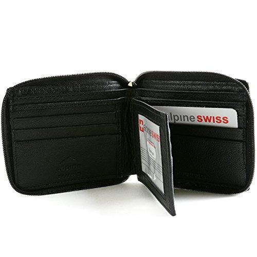 Alpine Swiss Mens Leather Zip Around Wallet ID Card Bi-fold