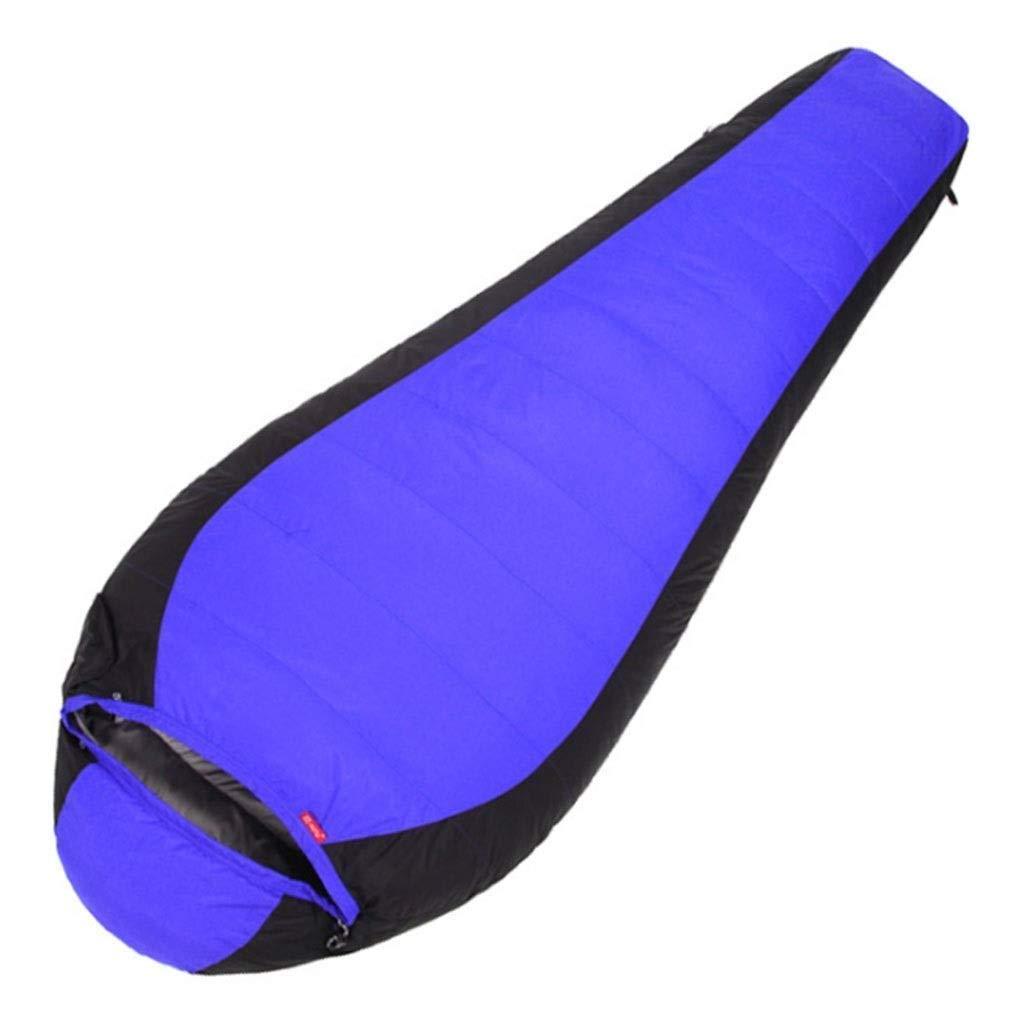 軽量ミイラ寝袋キャンプ防水3-4シーズン寝袋屋外旅行ハイキングアクティビティ青赤 (色 : 青) B07QLVC4QQ 青