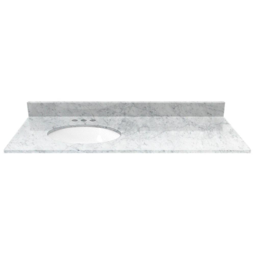 49 In. Marble Vanity Top In White Carrara With Off Set Left White Basin 80