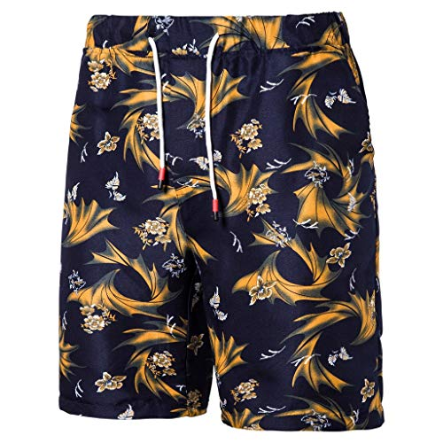 MIS1950s Swim Trunks Men's Quick Dry Printed Long Elastic Waistband Swimwear Bathing Suits with Pockets Summer Beach Shorts Boardshorts for Men