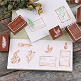 Dizdkizd Wooden Rubber Stamp Set, 10PCS Vintage