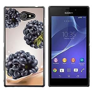 Be Good Phone Accessory // Dura Cáscara cubierta Protectora Caso Carcasa Funda de Protección para Sony Xperia M2 // Blackberry Berry Fruit Purple Blue