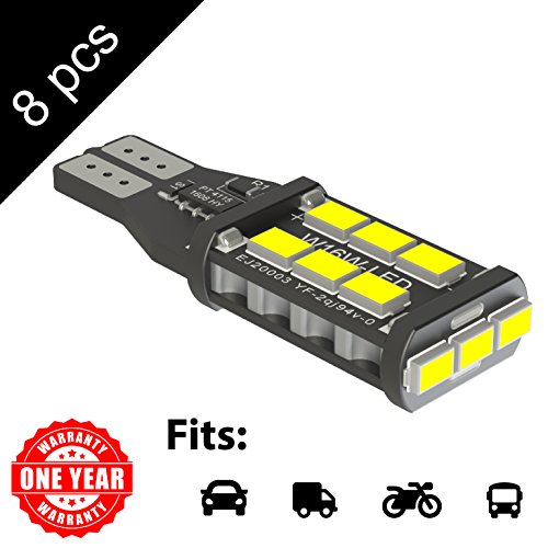 LED Monster 8-Pack White 15-SMD LED Bulbs for License Plate Lights Car Interior Dome Map Door Courtesy Extremely Bright Compact Wedge T10 168 194 2826