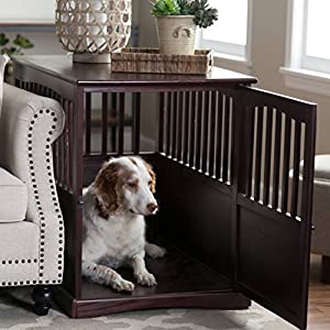 Newport Dog Crate Kennel Cage Bed Night Stand End Table Wood Furniture Cave House Room Large Size/Dark Brown. 19