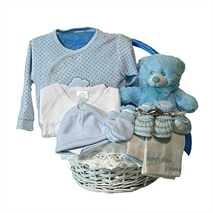 Canastilla regalo bebe - Primera Puesta Optima azul - Cesta recién ...