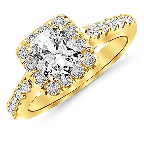 1.4 Ctw 14K Yellow Gold Square Halo Cushion Diamond Engagement Ring Cushion Cut (0.9 Ct H Color VVS2 Clarity Center Stone) (2 Carat Cushion Cut Diamond Actual Size)