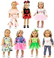 XFEYUE 7 Sets 18 inch Doll Clothes Gifts and Accessories, Mickey,Unicorn Doll Clothes Fit American 18 inch Gir