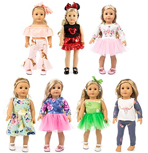 XFEYUE 7 Sets of 18 inch Doll Clothes Gifts and Accessories, Creative Mickey Doll Clothes & Unicorn Fashion Veil - Suitable for American 18 inch Girls Doll