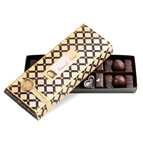 Amore di Mona Christmas Collection Dark Chocolates, Caramelas, Mignardise, & Truffles Gift Box: 9 Oz Luxury Assortment. Vegan, Non-gmo, Free of Gluten, Peanuts, Tree Nuts, Milk, & Soy.