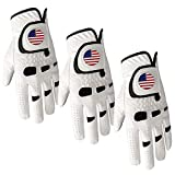 Golf Gloves Men Left Hand Right with Ball Marker USA Flag Value 3 Pack, Premium Leather Weathersof Grip Soft Mens Glove Size Small Medium ML Large XL (3 Pack M/Large-Worn on Left Hand)