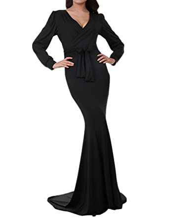 Dramaticbuying Womens Evening Gown Deep V-Neck Floor Length Mermaid Formal Dress, Black,