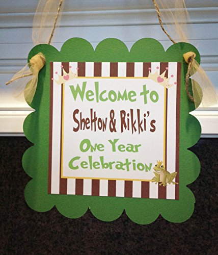 1 Door Sign - Princess & The Frog Inspired Birthday Collection - Brown Stripes, Green Cardstock, Gold Accents - Party Packs -