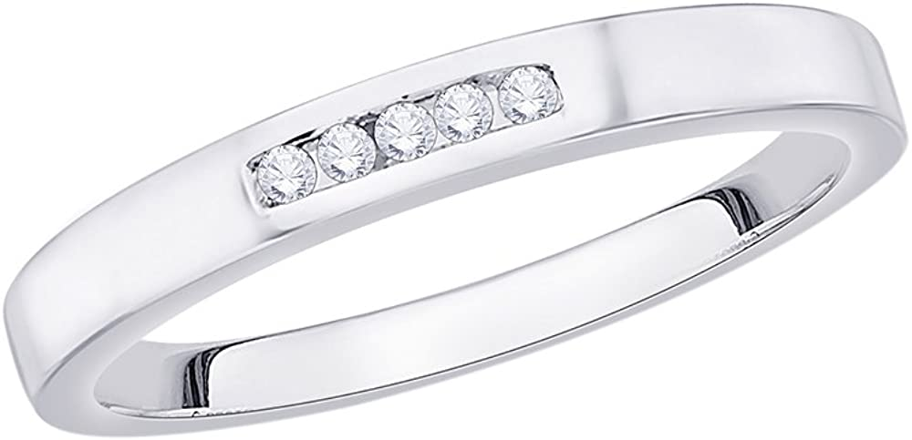 Size-9.5 Diamond Wedding Band in 10K White Gold 1//20 cttw, G-H,I2-I3