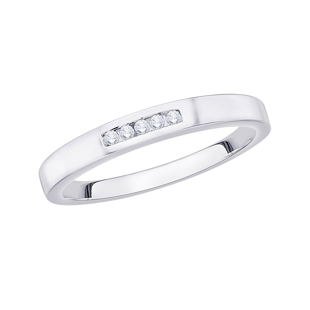 Diamond Wedding Band in 10K White Gold G-H,I2-I3 Size-4.5 1//20 cttw,