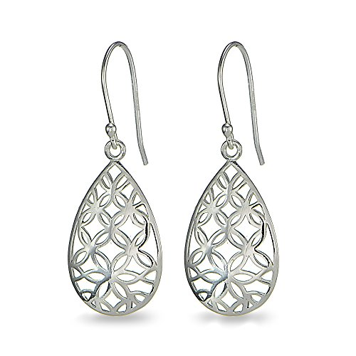 Filigree Flower Shape Earrings - LOVVE Sterling Silver Pear Shape Flower Filigree Teardrop Dangle Earrings