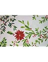 Food Network Christmas Holiday Poinsettia Holly Stain Resistant Microfiber Tablecloth 70 Round