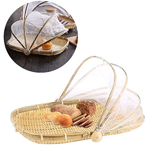 Charmant Hand Woven Food Serving Tent Basket, Fruit Vegetable Bread Cover Storage  Container Outdoor Picnic
